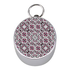 Boho Bold Vibrant Ornate Pattern Mini Silver Compasses by dflcprints