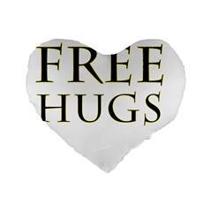 Freehugs Standard 16  Premium Heart Shape Cushions by cypryanus