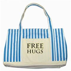 Freehugs Striped Blue Tote Bag by cypryanus