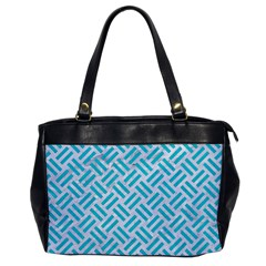 Woven2 White Marble & Turquoise Colored Pencil (r) Office Handbags by trendistuff