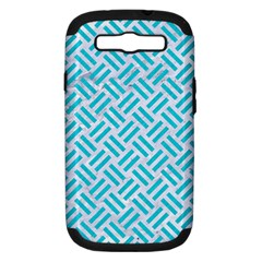 Woven2 White Marble & Turquoise Colored Pencil (r) Samsung Galaxy S Iii Hardshell Case (pc+silicone) by trendistuff