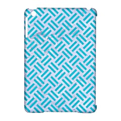 Woven2 White Marble & Turquoise Colored Pencil (r) Apple Ipad Mini Hardshell Case (compatible With Smart Cover) by trendistuff