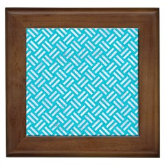 Woven2 White Marble & Turquoise Colored Pencil Framed Tiles by trendistuff