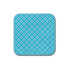 Woven2 White Marble & Turquoise Colored Pencil Rubber Square Coaster (4 Pack)  by trendistuff