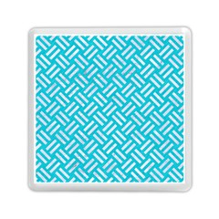 Woven2 White Marble & Turquoise Colored Pencil Memory Card Reader (square)  by trendistuff