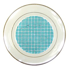 Woven1 White Marble & Turquoise Colored Pencil (r) Porcelain Plates by trendistuff