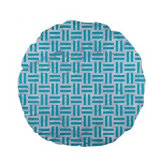 Woven1 White Marble & Turquoise Colored Pencil (r) Standard 15  Premium Flano Round Cushions by trendistuff