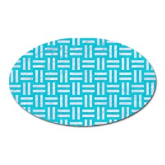 Woven1 White Marble & Turquoise Colored Pencil Oval Magnet by trendistuff