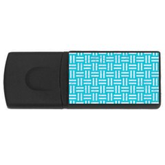 Woven1 White Marble & Turquoise Colored Pencil Rectangular Usb Flash Drive by trendistuff