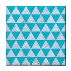 Triangle3 White Marble & Turquoise Colored Pencil Face Towel by trendistuff