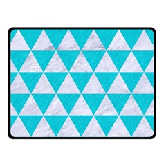 Triangle3 White Marble & Turquoise Colored Pencil Double Sided Fleece Blanket (small)  by trendistuff