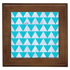 Triangle2 White Marble & Turquoise Colored Pencil Framed Tiles by trendistuff