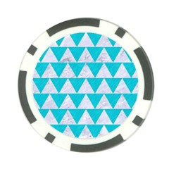 Triangle2 White Marble & Turquoise Colored Pencil Poker Chip Card Guard by trendistuff