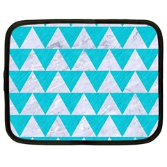 Triangle2 White Marble & Turquoise Colored Pencil Netbook Case (large) by trendistuff