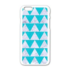 Triangle2 White Marble & Turquoise Colored Pencil Apple Iphone 6/6s White Enamel Case by trendistuff