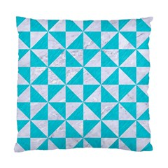 Triangle1 White Marble & Turquoise Colored Pencil Standard Cushion Case (one Side) by trendistuff