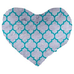 Tile1 White Marble & Turquoise Colored Pencil (r) Large 19  Premium Heart Shape Cushions by trendistuff