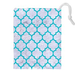 Tile1 White Marble & Turquoise Colored Pencil (r) Drawstring Pouches (xxl) by trendistuff