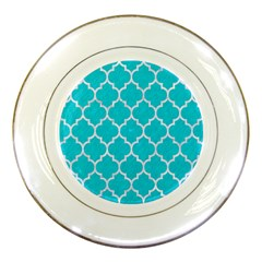 Tile1 White Marble & Turquoise Colored Pencil Porcelain Plates by trendistuff