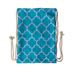 Tile1 White Marble & Turquoise Colored Pencil Drawstring Bag (small) by trendistuff