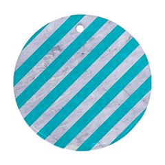 Stripes3 White Marble & Turquoise Colored Pencil (r) Round Ornament (two Sides) by trendistuff
