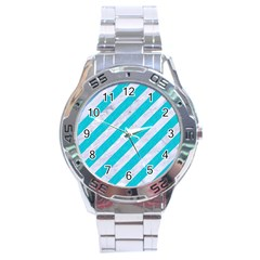 Stripes3 White Marble & Turquoise Colored Pencil (r) Stainless Steel Analogue Watch by trendistuff