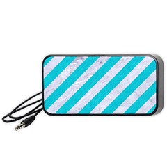 Stripes3 White Marble & Turquoise Colored Pencil (r) Portable Speaker by trendistuff