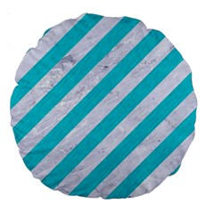 Stripes3 White Marble & Turquoise Colored Pencil (r) Large 18  Premium Round Cushions by trendistuff