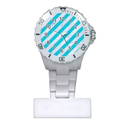 Stripes3 White Marble & Turquoise Colored Pencil (r) Plastic Nurses Watch by trendistuff