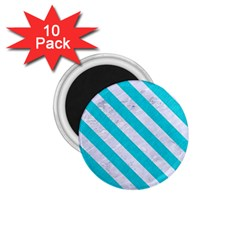 Stripes3 White Marble & Turquoise Colored Pencil 1 75  Magnets (10 Pack)  by trendistuff