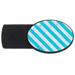 Stripes3 White Marble & Turquoise Colored Pencil Usb Flash Drive Oval (2 Gb) by trendistuff