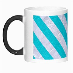 Stripes3 White Marble & Turquoise Colored Pencil Morph Mugs by trendistuff