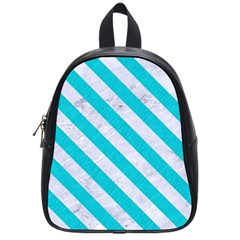 Stripes3 White Marble & Turquoise Colored Pencil School Bag (small) by trendistuff