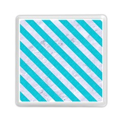 Stripes3 White Marble & Turquoise Colored Pencil Memory Card Reader (square)  by trendistuff