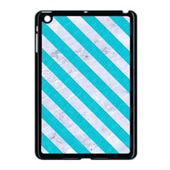 Stripes3 White Marble & Turquoise Colored Pencil Apple Ipad Mini Case (black) by trendistuff