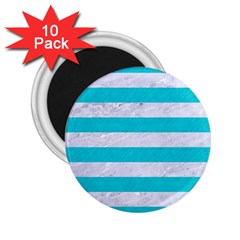 Stripes2white Marble & Turquoise Colored Pencil 2 25  Magnets (10 Pack)  by trendistuff
