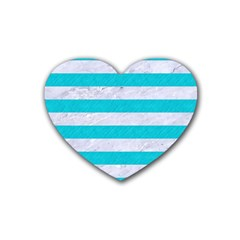 Stripes2white Marble & Turquoise Colored Pencil Heart Coaster (4 Pack)  by trendistuff