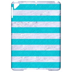 Stripes2white Marble & Turquoise Colored Pencil Apple Ipad Pro 9 7   Hardshell Case by trendistuff