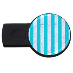 Stripes1 White Marble & Turquoise Colored Pencil Usb Flash Drive Round (4 Gb) by trendistuff