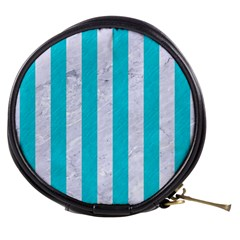 Stripes1 White Marble & Turquoise Colored Pencil Mini Makeup Bags by trendistuff
