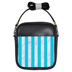 Stripes1 White Marble & Turquoise Colored Pencil Girls Sling Bags by trendistuff