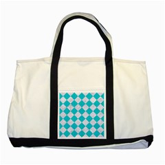 Square2 White Marble & Turquoise Colored Pencil Two Tone Tote Bag by trendistuff