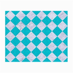 Square2 White Marble & Turquoise Colored Pencil Small Glasses Cloth (2 Side) by trendistuff