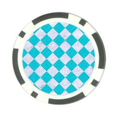 Square2 White Marble & Turquoise Colored Pencil Poker Chip Card Guard by trendistuff