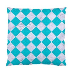 Square2 White Marble & Turquoise Colored Pencil Standard Cushion Case (two Sides) by trendistuff