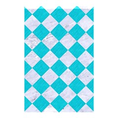 Square2 White Marble & Turquoise Colored Pencil Shower Curtain 48  X 72  (small)  by trendistuff