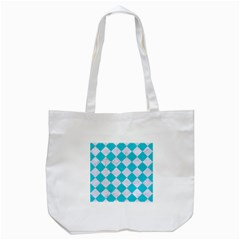 Square2 White Marble & Turquoise Colored Pencil Tote Bag (white) by trendistuff