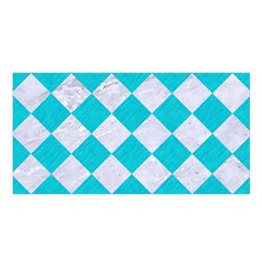 Square2 White Marble & Turquoise Colored Pencil Satin Shawl by trendistuff