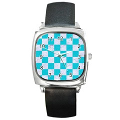 Square1 White Marble & Turquoise Colored Pencil Square Metal Watch by trendistuff