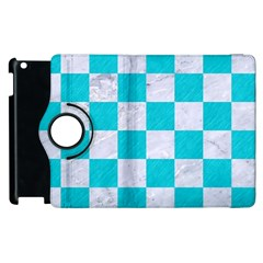 Square1 White Marble & Turquoise Colored Pencil Apple Ipad 2 Flip 360 Case by trendistuff